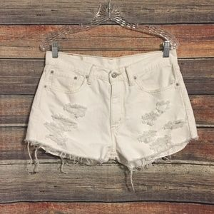 Levis 505 distressed cut off white shorts